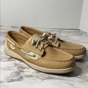 SPERRY gold metallic bluefish leather shoe loafer